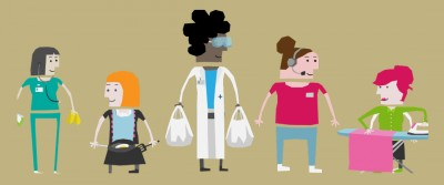 A nurse with cleaning equipment, a woman in an apron cooking, a women in a lab coat with shopping, a call handler, and a woman ironing